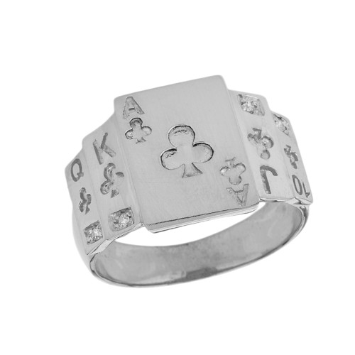 """Ace of Clubs"" Royal Flush Diamond Ring in White Gold"
