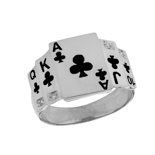 """Ace of Clubs"" Royal Flush Diamond Ring in White Gold with Black Spades"