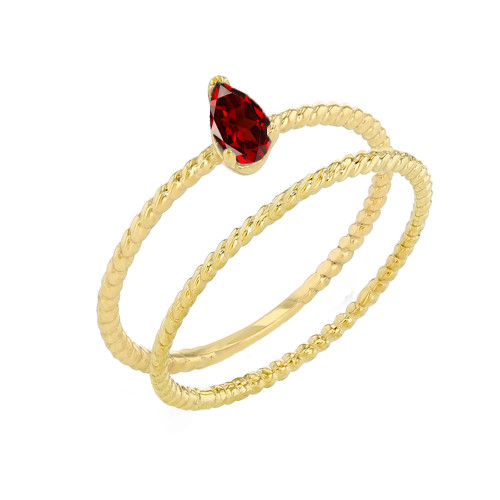 Modern Dainty Genuine Garnet Pear Shape Rope Ring Stacking Set in Yellow Gold