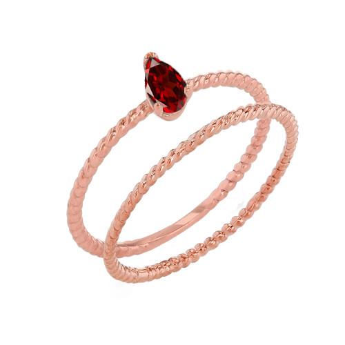 Modern Dainty Genuine Garnet Pear Shape Rope Ring Stacking Set in Rose Gold