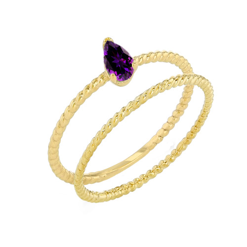 Modern Dainty Genuine Amethyst Pear Shape Rope Ring Stacking Set in Yellow Gold