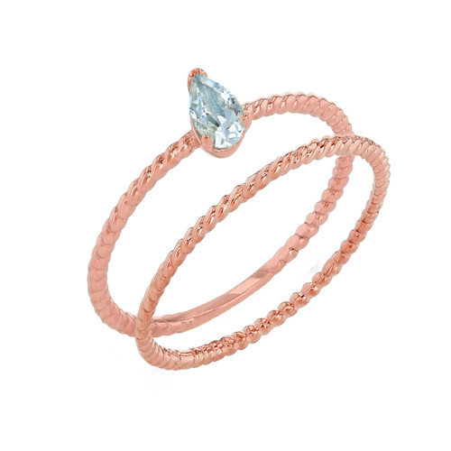 Modern Dainty Genuine Aquamarine Pear Shape Rope Ring Stacking Set in Rose Gold