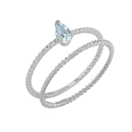Modern Dainty Genuine Aquamarine Pear Shape Rope Ring Stacking Set in White Gold