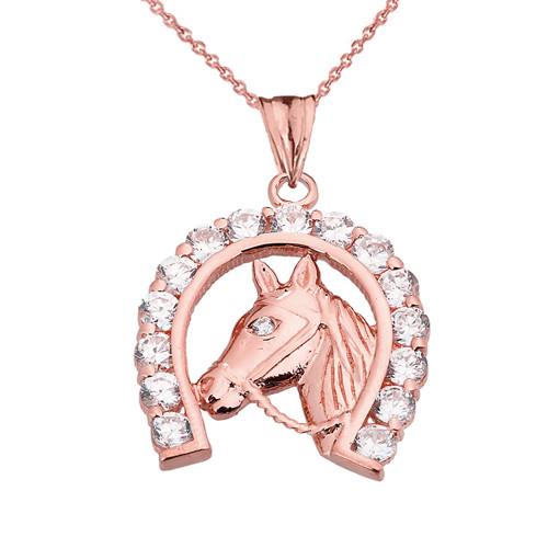 Lucky Horseshoe Statement Pendant Necklace in Rose Gold