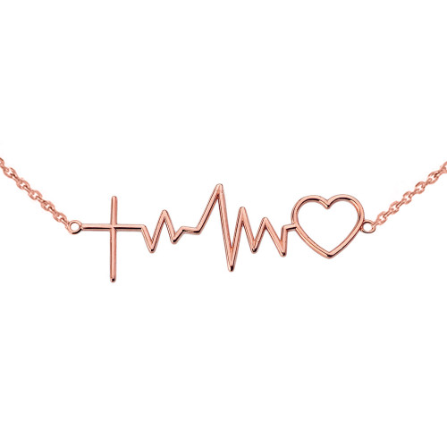 14K Heartbeat with Cross Necklace in Rose Gold
