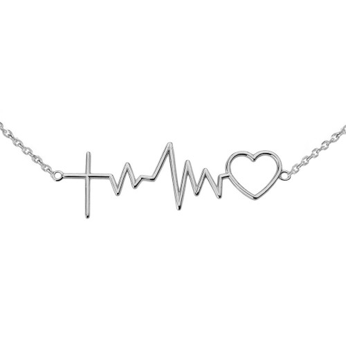 14K Heartbeat with Cross Necklace in White Gold