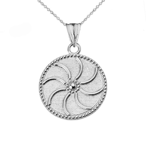 """Armenian Eternity (0.94"""") Pendant Necklace in White Gold"""