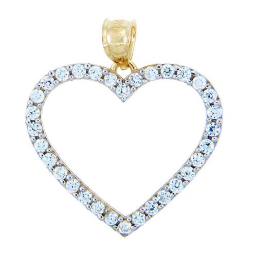 Cubic Zirconias Gold Heart Pendant