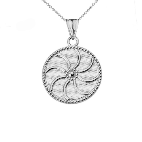 """Armenian Eternity (0.80"""") Pendant Necklace in White Gold"""