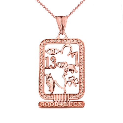 Ancient Egyptian Good Luck Cartouche Pendant Necklace in Rose Gold