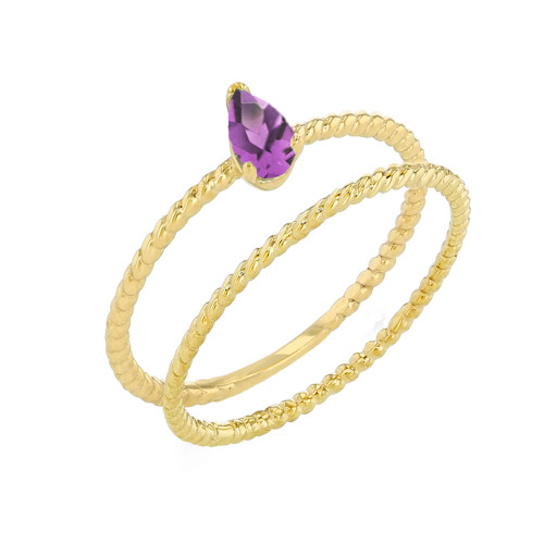 Modern Dainty Lab Created  Alexandrite Pear Shape Rope Ring Stacking Set in Yellow Gold