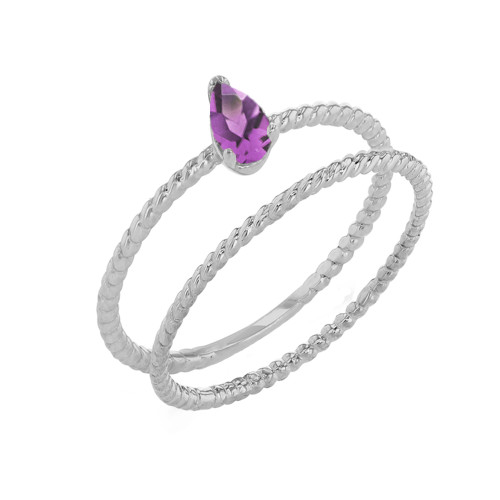 Modern Dainty Lab Created  Alexandrite Pear Shape Rope Ring Stacking Set in White Gold