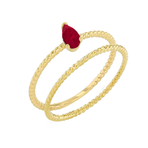 Modern Dainty Genuine Ruby Pear Shape Rope Ring Stacking Set in Yellow Gold