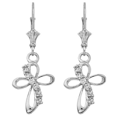 Dainty Modern Cross Cubic Zirconia Earrings in Sterling Silver