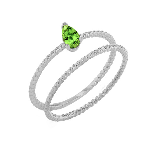 Modern Dainty Genuine Peridot Pear Shape Rope Ring Stacking Set in White Gold