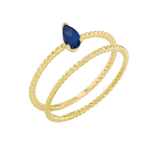 Modern Dainty Genuine Sapphire Pear Shape Rope Ring Stacking Set in Yellow Gold
