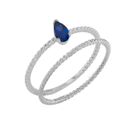 Modern Dainty Genuine Sapphire Pear Shape Rope Ring Stacking Set in White Gold