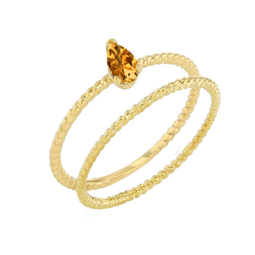 Modern Dainty Genuine Citrine Pear Shape Rope Ring Stacking Set in Yellow Gold