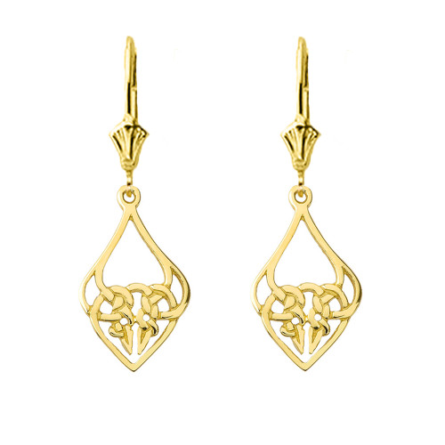 Designer Celtic Knot Statement Earrings in Yellow Gold
