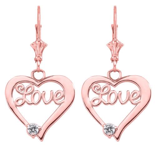"""""""Love"""" Script Diamond Heart Earrings in 14K Rose Gold"""