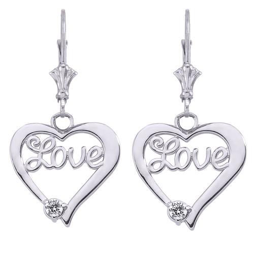"""""""Love"""" Script Diamond Heart Earrings in 14K White Gold"""