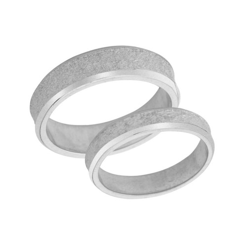 Couples Matching Rock Satin Wedding Band Set in Sterling Silver