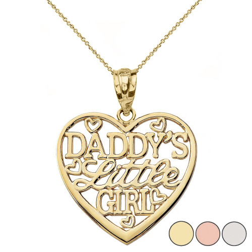 Daddy's Little Girl Heart Pendant Necklace in Gold (Yellow/Rose/White)