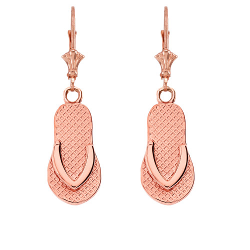 14K Flip Flop Earrings in Rose Gold