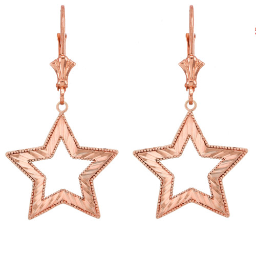 14K Chic Sparkle Cut Star Earrings in Rose Gold