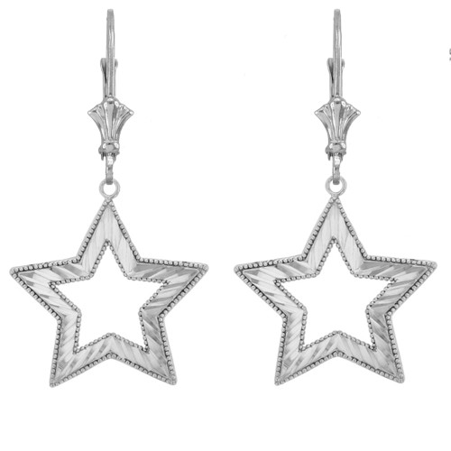 14K Chic Sparkle Cut Star Earrings in White Gold