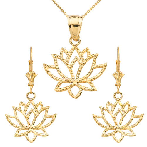 14K Lotus Flower Pendant Necklace Set in Yellow Gold