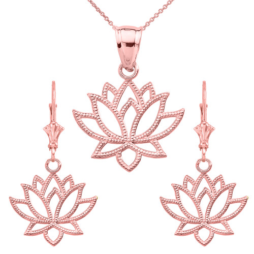 14K Lotus Flower Pendant Necklace Set in Rose Gold