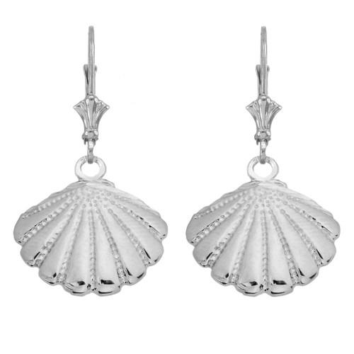 14K Cockle Sea Shell Earrings in White Gold