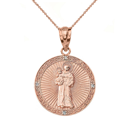 """Solid Rose Gold Engravable Diamond Saint Anthony Pray For Us Circle Pendant Necklace 1.06"""""""