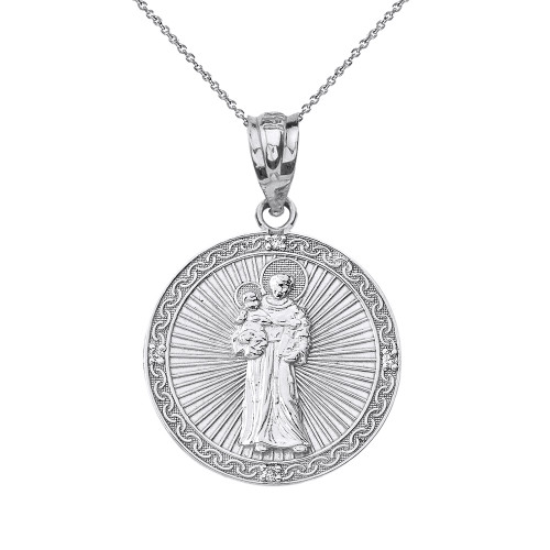 Solid White Gold Engravable Diamond Saint Anthony Pray For Us Circle Pendant Necklace 1.06""