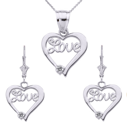 "14K ""Love"" Script Diamond Heart Pendant Necklace Set in White Gold"