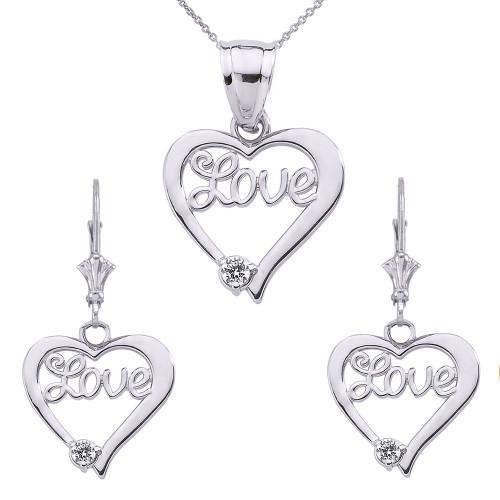 """""""Love"""" Script Diamond Heart Necklace Set in Sterling Silver"""