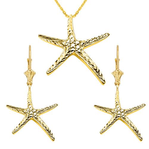14K Diamond Cut Starfish Pendant Necklace Set in Yellow Gold