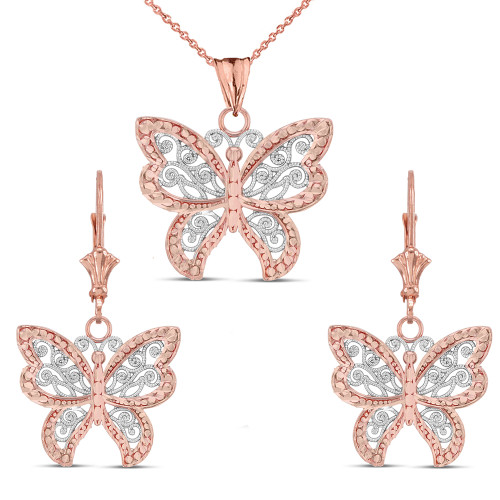 14K Filigree Butterfly Pendant Necklace Set in Two-Tone Rose Gold