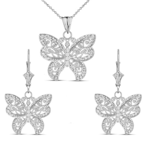 14K Filigree Butterfly Pendant Necklace Set in White Gold