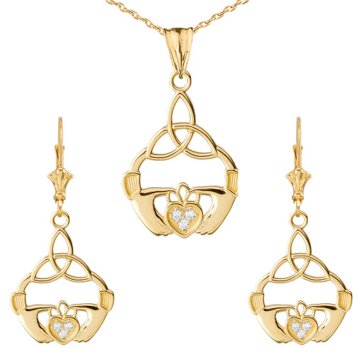 Diamond Claddagh Trinity Knot Pendant Necklace Set in Yellow Gold