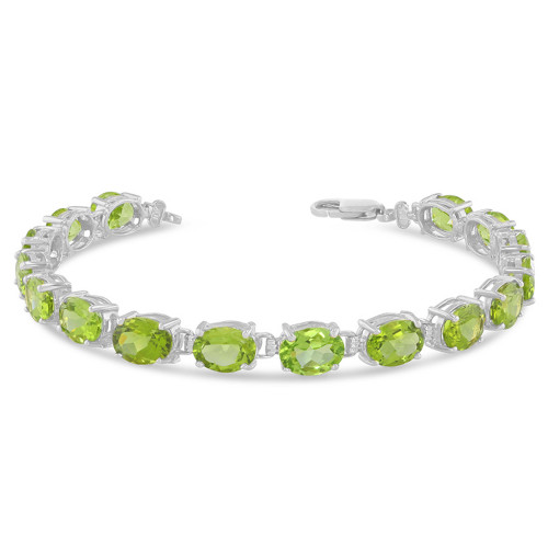 Oval Genuine Peridot (8 x 6) Tennis Bracelet in White Gold