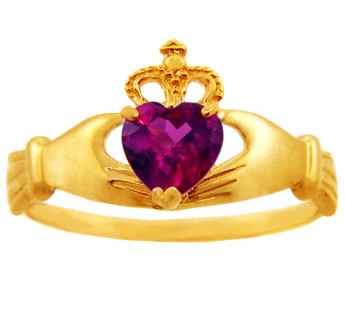 Gold Birthstone Claddagh Ring Ruby