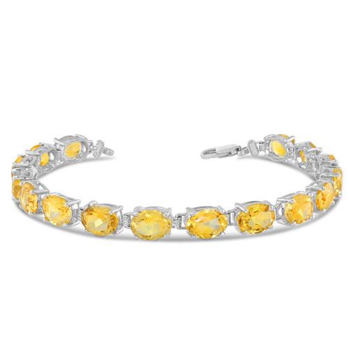 Oval Genuine Citrine (8 x 6) Tennis Bracelet in White Gold