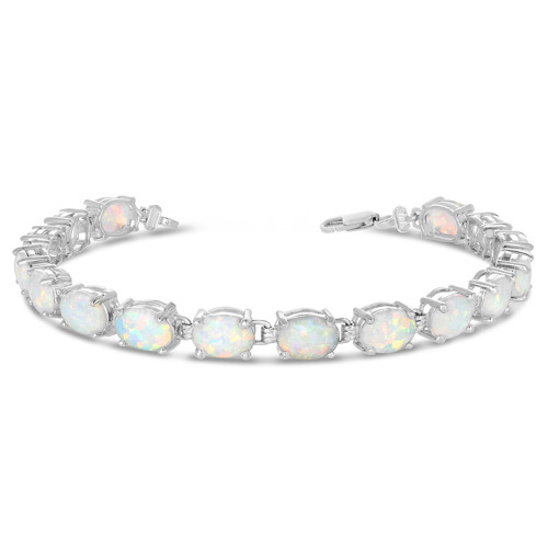 Oval Simulated Opal (9 x 7) Tennis Bracelet in Sterling Silver