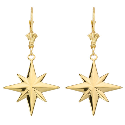 North Star Leverback Earrings in Yellow Gold