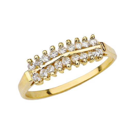 Elegant ½ CT C.Z Pyramid Ring in Yellow Gold