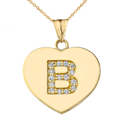 """Diamond Initial """"B"""" Heart Pendant Necklace in Yellow Gold"""