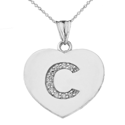 """Diamond Initial """"C"""" Heart Pendant Necklace in White Gold"""