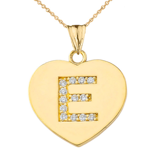 "Diamond Initial ""E"" Heart Pendant Necklace in Yellow Gold"